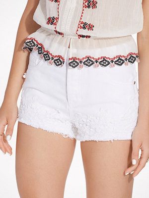 Miss Selfridge White Crochet Hem Denim Short White