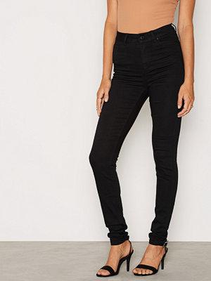 Vero Moda byxor Vmnine Hw Ss Smooth Jeans Black Noo Svart