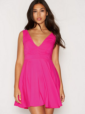 New Look Bright Pink Plunge Sleeveless Skater Dress