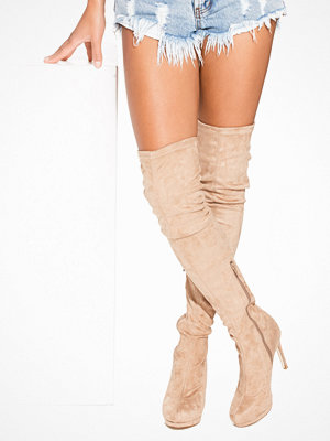 NLY Shoes Platform Over Knee Boot Brun/Grå