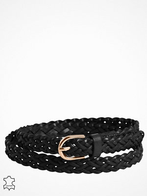 Pieces Pcavery Leather Braided Slim Belt N Svart