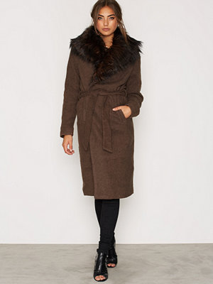 Only onlNEW Scoop Drapy Fur Coat Otw Brun