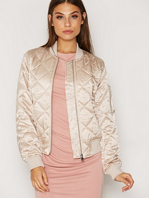 Topshop Quilted Shiny Bomber Jacket