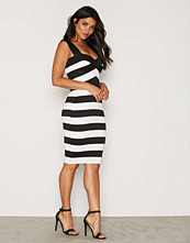 New Look Monochrome Stripe Bandage Bodycon Midi Dress
