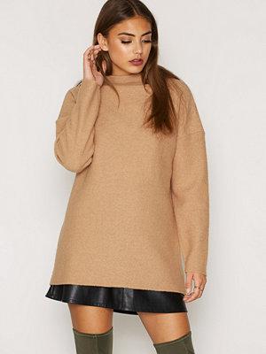 Selected Femme Sfdarla Ls Knit T-Neck Pullover Ljus Brun