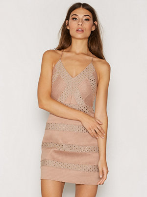 Topshop Heat Sealed Plunge Dress Nude