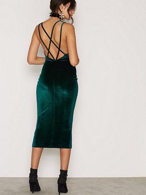 NLY One Cross Strap Velvet Dress Emerald