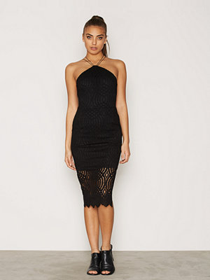 Topshop Lace Triangle Midi Dress Black