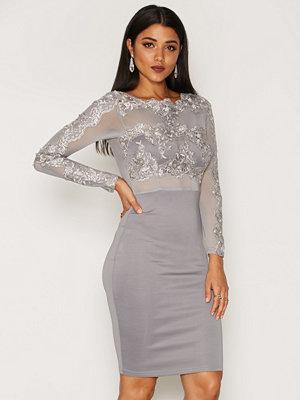 Ax Paris Long Sleeve Detail Bodycon Dress Grey