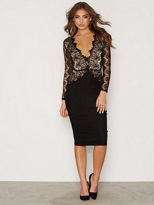 Rare London Lace Cutout Back Midi Dress Black