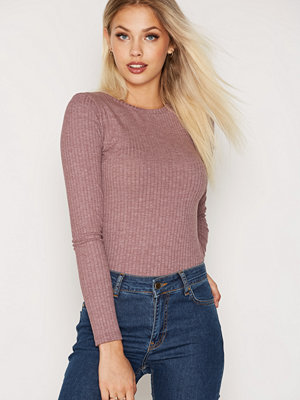 NLY Trend Wide Rib Top Dark Rose