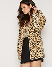 Topshop Casual Leopard Faux Fur Coat