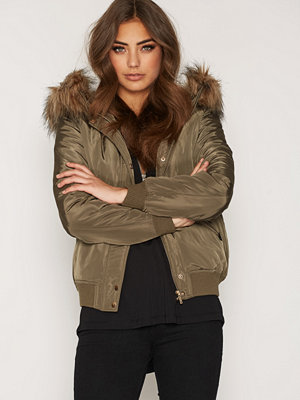 New Look Hooded Faux Fur Padded Bomber Khaki