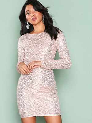 NLY One Bare Back Sequin Dress Champagne