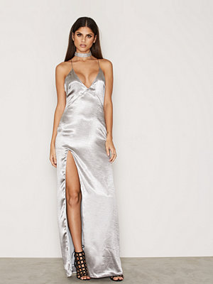 NLY Eve Satin Slit Gown Silver