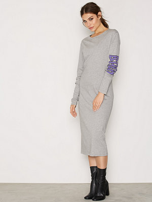 BACK LS T-Shirt Dress Print Grey Melange