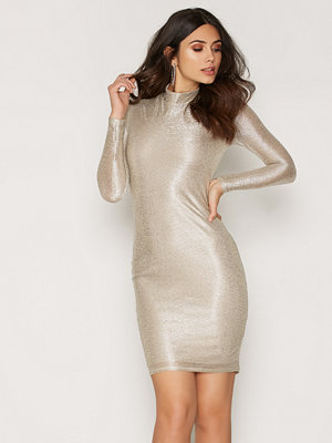 NLY One Turtle Neck Foil Dress Silver