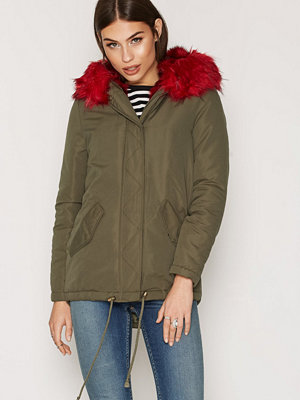 New Look Bright Faux Fur Trim Parka Wine