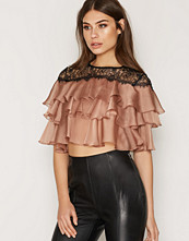 Skjortor - Topshop Layered Lace Yolk Crop Top