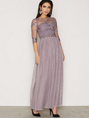 Little Mistress Grey Lace And Embroidered Maxi Dress Grey