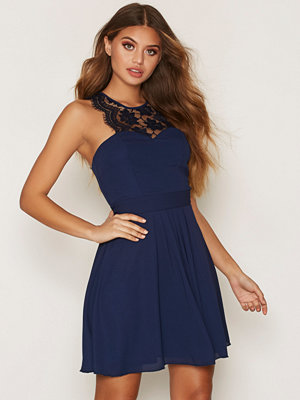 NLY One Upper Lace Flowy Dress Navy