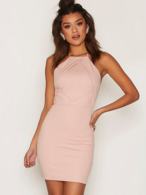 NLY One Fold Over Bust Dress Ljus Rosa