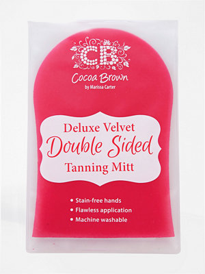 Solning - Cocoa Brown Deluxe Double-Sided Pink Velvet Tanning Mitt Pink