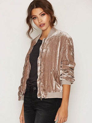 Free People Rouched Velvet Bomber Sand