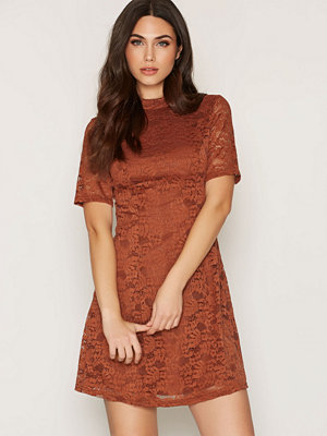 New Look Lace Funnel Neck Dress Chestnut