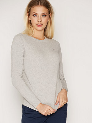 Gant Cotton Pique Crew Light Grey Melange