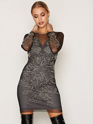 Miss Selfridge Flower Detail Bcon Dress Black