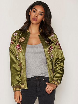 Miss Selfridge bomberjacka med tryck Floral Bomber Jacket Dark Green