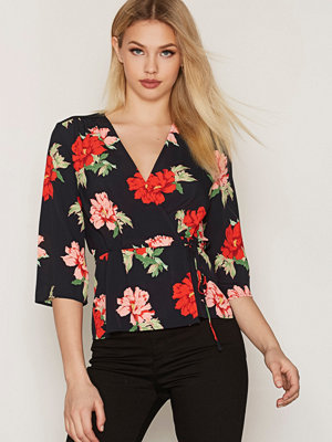 Topshop Red Floral Wrap Top