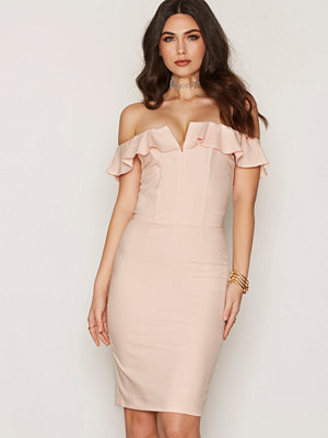 Miss Selfridge Ruffle Bandeau Midi Dress Pink