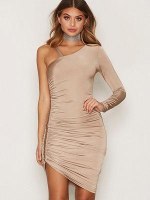 Miss Selfridge Slinky 1 Shoulder Dress Brown