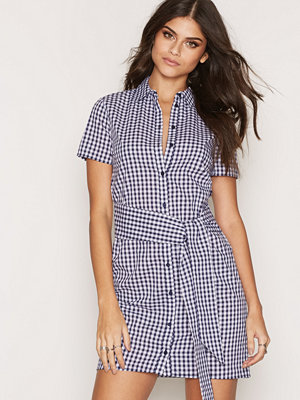 Miss Selfridge Tie Gingham Dress Blue