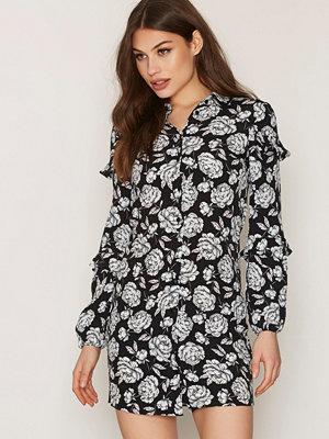 Miss Selfridge Ruffle Shirt Dress Black Flower