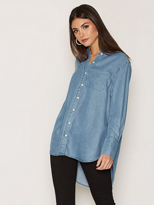 Selected Femme Sfdahrma Ls Denim Shirt Blå