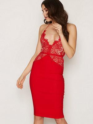 Rare London Scalloped Edge Midi Dress Red