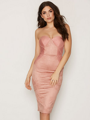 Rare London Cup Detail Midi Dress Pink