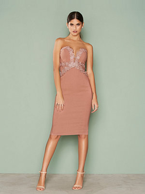 Rare London Lace Trim Midi Dress Pink