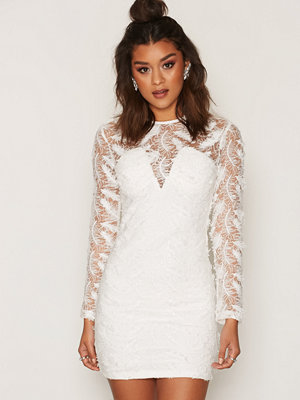 Rare London Feather Lace Detail Mini Dress White