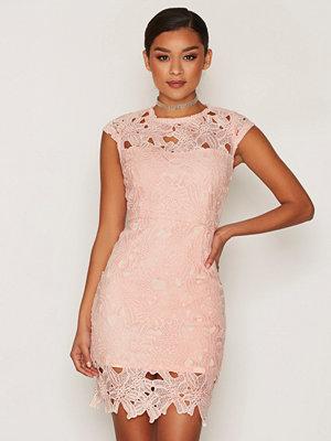 Ax Paris Short Sleeve Lace Dress Pink