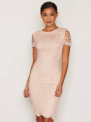 Ax Paris Short Sleeve Midi Lace Dress Pink
