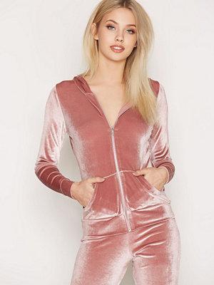 Street & luvtröjor - NLY Trend Velvet Lounge Set Jacket Dusty Pink