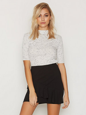 Kjolar - New Look Scuba Frill Trim Mini Skirt