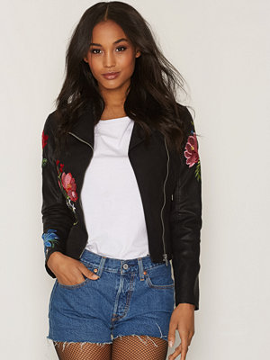 New Look Floral Embroidered Biker Jacket