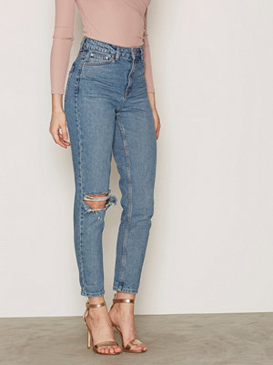 Topshop MOTO Mid Blue Rip Mom Jeans Mid Blue