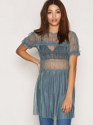 Topshop Tulle Ruched Tee Tunic Steel