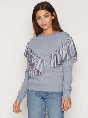 Topshop Ruffle Satin Sweatshirt Blue
